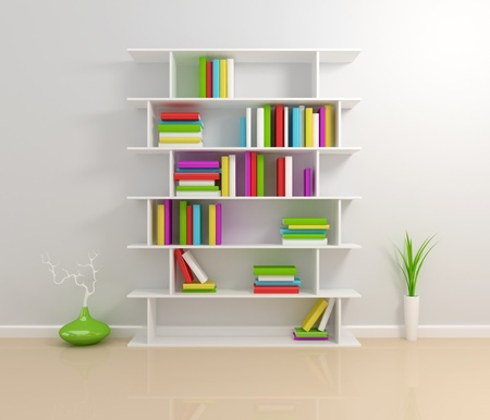 White bookshelf with a colorful books. 3d rendered. photo