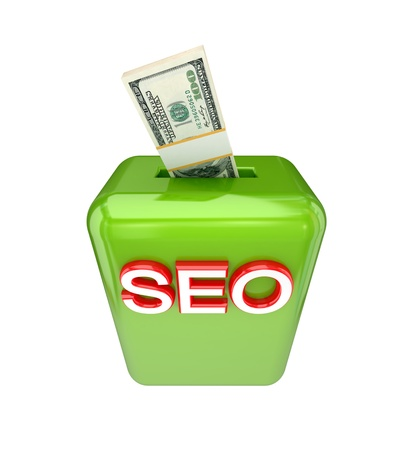 Invest to SEO concept. 3d rendered. Isolated on white background. photo