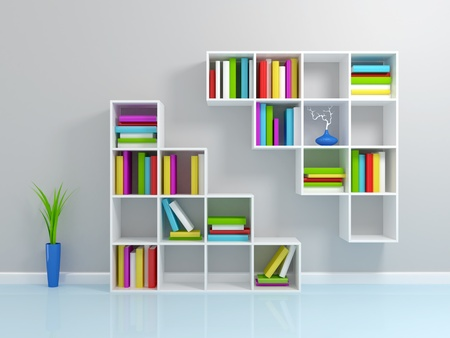 shelf with books: White bookshelf with a colorful books. 3d rendered.