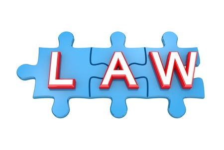 legally: Blue puzzles with a word LAW. 3d rendered. Isolated on white background. Stock Photo