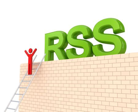 Word RSS on a big wall and 3d small person on a stairs. Isolated on white background. photo