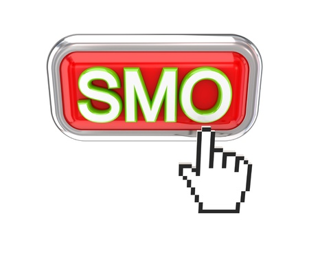 Cursor pushing red SMO button. 3d rendered. Isolated on white background. photo