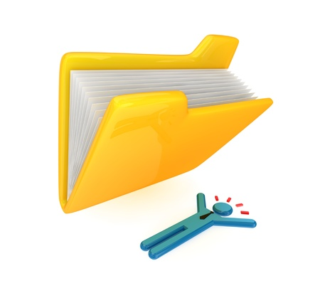 Big yellow folder and lying small person. 3d rendered. Isolated on white background. photo