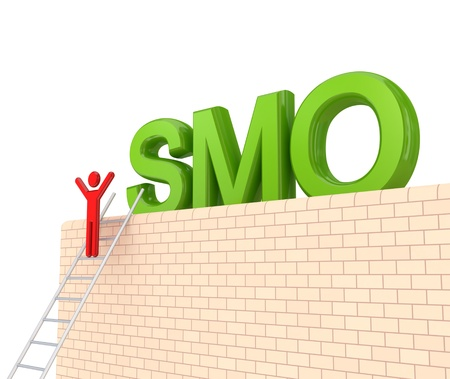 Word SMO on a big wall and 3d small person on a stairs. Isolated on white background. photo