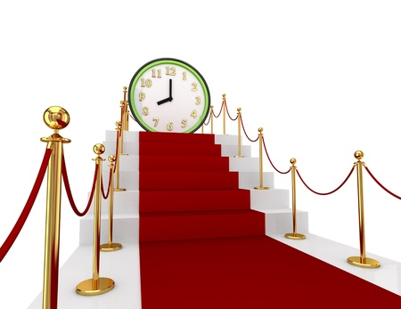 Red carpet on a stairs and green watch. 3d rendered. Isolated on white background. Stock Photo - 12174186