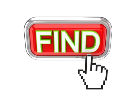 Cursor pushing red FIND button. 3d rendered. Isolated on white background. Stock Photo - 12174189