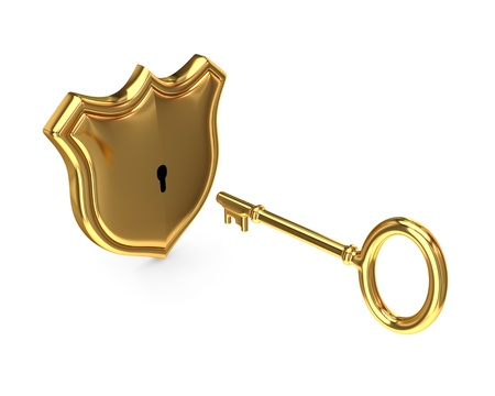 Protection symbol and antique key. 3d rendered. Isolated on white background. photo