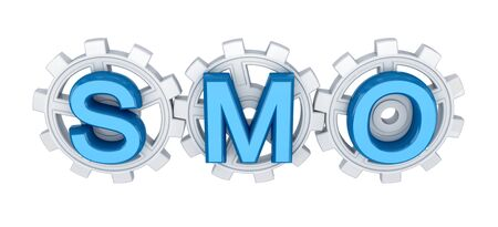 Word SMO and white gears. 3d rendered. Isolated on white background. photo