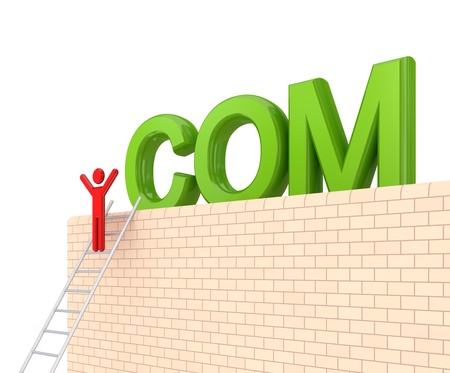Word COM on a big wall and 3d small person on a stairs. Isolated on white background. photo