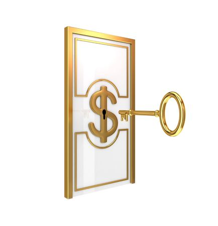 Abstract door with golden ornate frame and antique key. 3d rendered. photo