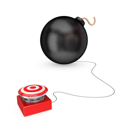 Big red button and black bomb. 3d rendered. Isolated on white background. Stock Photo - 12172016