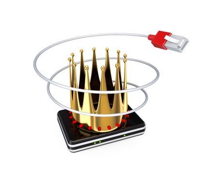Router, patchcord and golden crown. 3d rendered. Isolated on white background. photo