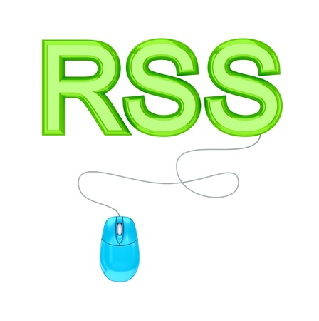 PC mouse and green word RSS.3d rendered.Isolated on white background. Stock Photo - 12175213