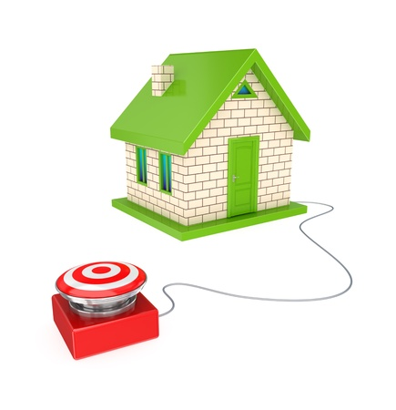 Big red button and small house.3d rendered.Isolated on white background. photo