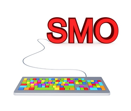 smo: Colorful PC keyboard and big red word SMO.3d rendered.Isolated on white background.