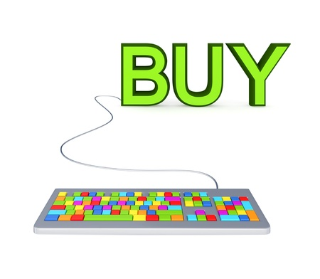 Colorful PC keyboard and big green word BUY.Isolated on white.3d rendered. Stock Photo - 12171334