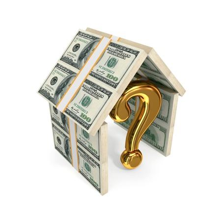property insurance: Consulta de signo bajo el techo de d�lares. Aislado sobre fondo blanco. 3d rindi�.
