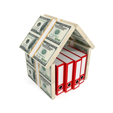 Office folders under the roof made of dollars.Isolated on white background.3D rendered. Stock Photo - 12218261