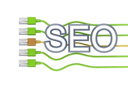 Big word SEO, foure green patchcords and golden one.3d rendered. Isolated on white background. Stock Photo - 12171202