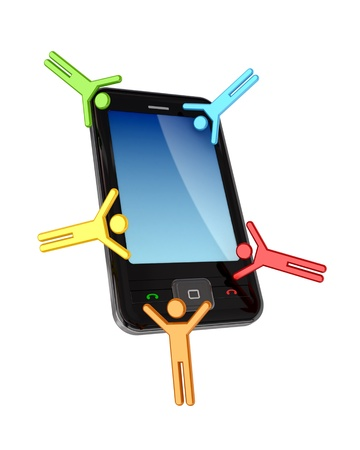 Colorful 3d small people flying around modern cellphone.Isolated on white background. photo