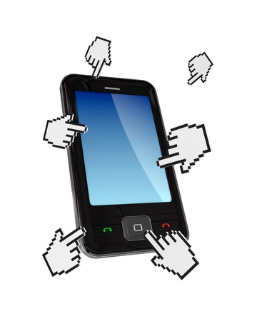 it is isolated: Modern cellphone and cursors around it. Isolated on white background. Stock Photo