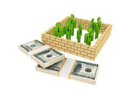 3d small people behind the wall and dollar packs. Isolated on white background. photo