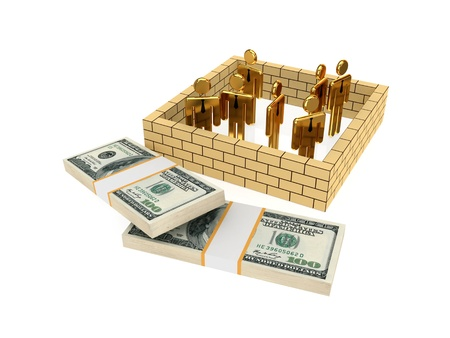 financial obstacle: 3d small people behind the wall and dollar packs. Isolated on white background. Stock Photo