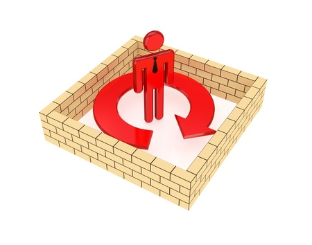 Brick wall around red arrow.Isolated on white background.3d rendered. photo