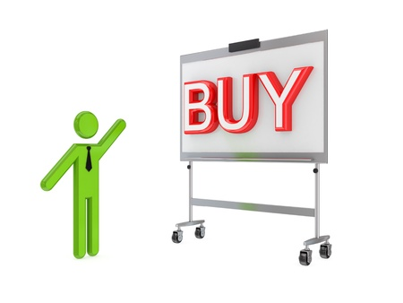 3d small person, flip chart and big word BUY.Isolated on white background. photo