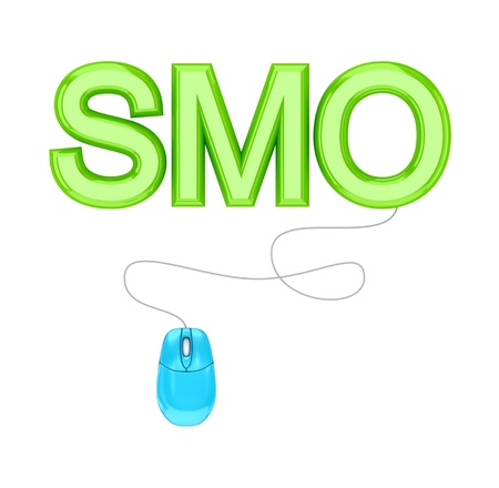 smo: PC mouse and green word SMO.3d rendered.Isolated on white background.