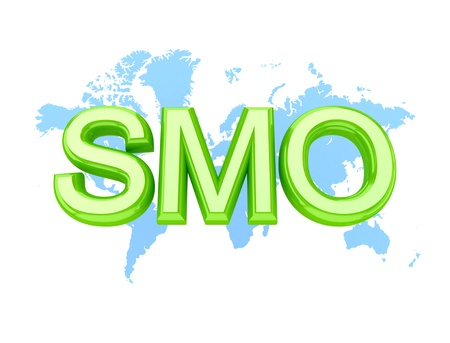 smo: Green word SMO and worlds map.3d rendered.Isolated on white background.