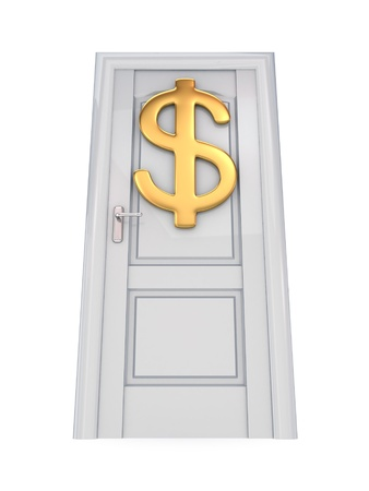 White door with a golden dollar sign. 3d rendered. Isolated on white background. photo