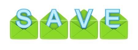 financial diversification: Green envelopes and word SAVE.3d rendered.Isolated on white background.