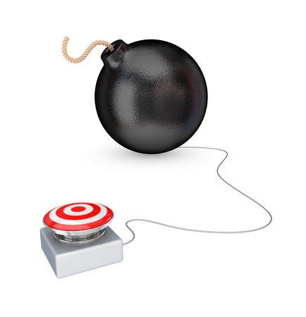 Big red button and black bomb. 3d rendered. Isolated on white background. Stock Photo - 12171369