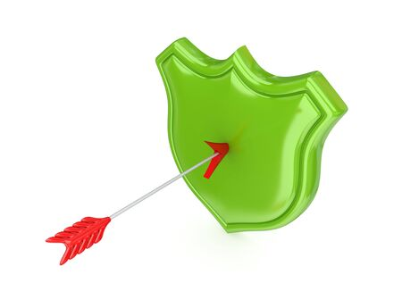 Red arrow and green protection symbol.Isolated on white background.3d rendered. photo
