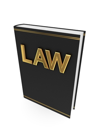 Black book with golden word LAW.Isolated on white background.3d rendered.