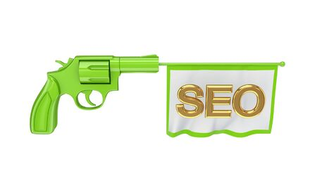 Green revolver and white flag with a golden word SEO. Isolated on white background. photo