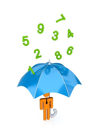 3d small person with big umbrella under the rain of numbers.Isolated on white background. photo