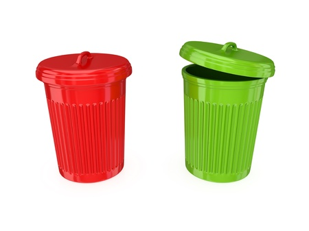 Colorful dustbins. 3d rendered.Isolated on white background. Stock Photo - 12174519