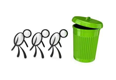 Sad 3d small people and large dustbin.Isolated on white. Stock Photo - 12174380