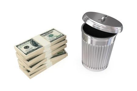cleaning debt: Big dollars pack and dustbin.3d rendered.Isolated on white background. Stock Photo