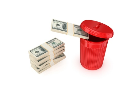 cleaning debt: Dollar packs in a red recycle bin.Isolated on white background.3d rendered.