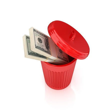 Dollar packs in a red recycle bin.Isolated on white background.3d rendered. photo