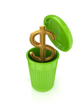cleaning debt: Golden dollar sign in a green recycle bin. Isolated on white background.3d rendered.