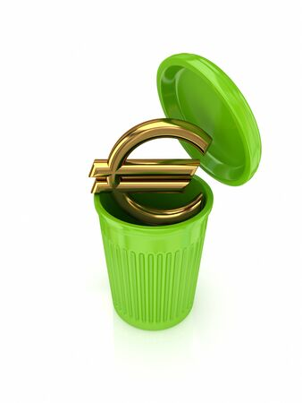 cleaning debt: Golden euro sign in a green recycle bin.Isolated on white background.3d rendered.