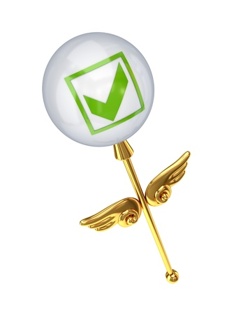 Magic wand with tick mark.Isolated on white background.3d rendered. photo