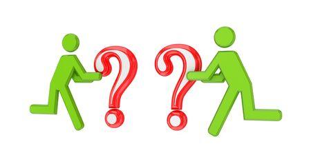 questionail: 3d peque�o pueblo con unos signos de la consulta en un hands.Isolated sobre fondo blanco.