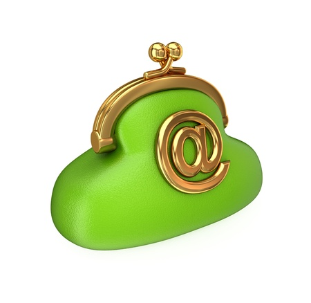 change purses: Green purse with a golden email sign. Isolated on white background. 3d rendered.