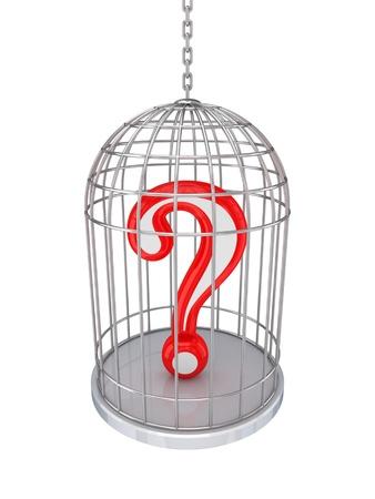 questionail: Consulta de signo en un birdcage.Isolated sobre fondo blanco. Foto de archivo