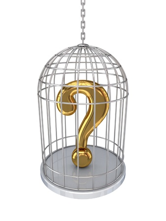 questionable request: Query sign in a birdcage.Isolated on white background. Stock Photo